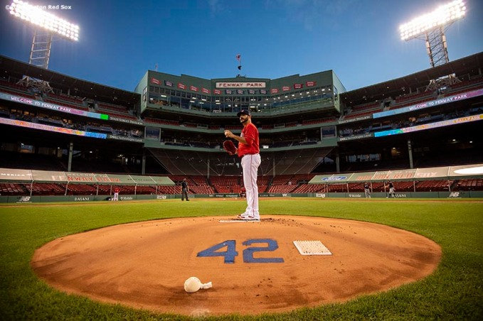 BOSTON, MA - AUGUST 28: of the Boston Red Sox before a game against the Washington Nationals on August 28, 2020 at Fenway Park in Boston, Massachusetts. The 2020 season had been postponed since March due to the COVID-19 pandemic. (Photo by Billie Weiss/Boston Red Sox/Getty Images) *** Local Caption ***