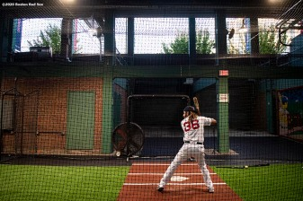 BOSTON, MA - AUGUST 31: Jonathan Arauz #36 of the Boston Red Sox takes batting practice in the auxiliary concourse batting cage before a game against the Atlanta Braves on August 31, 2020 at Fenway Park in Boston, Massachusetts. The 2020 season had been postponed since March due to the COVID-19 pandemic. (Photo by Billie Weiss/Boston Red Sox/Getty Images) *** Local Caption *** Jonathan Arauz
