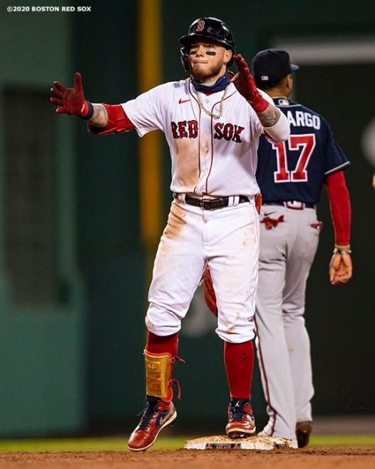 BOSTON, MA - AUGUST 31: Alex Verdugo #99 of the Boston Red Sox reacts after hitting a double during the fifth inning of a game against the Atlanta Braves on August 31, 2020 at Fenway Park in Boston, Massachusetts. The 2020 season had been postponed since March due to the COVID-19 pandemic. (Photo by Billie Weiss/Boston Red Sox/Getty Images) *** Local Caption *** Alex Verdugo