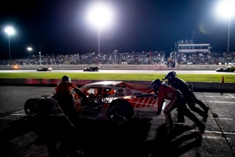 Ryan Preece, driver of the #6 T.S. Hauler Chevrolet is pushed off the tracked during the Thompson 150 for the NASCAR Whelen Modified Tour at Thompson Speedway Motorsports Park in Thompson, Connecticut on September 3, 2020. (Billie Weiss/NASCAR)