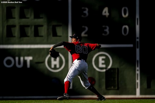 BOSTON, MA - SEPTEMBER 4: Yairo Munoz #60 of the Boston Red Sox throws during the third inning of a game against the Toronto Blue Jays on September 4, 2020 at Fenway Park in Boston, Massachusetts. The 2020 season had been postponed since March due to the COVID-19 pandemic. (Photo by Billie Weiss/Boston Red Sox/Getty Images) *** Local Caption *** Yairo Munoz