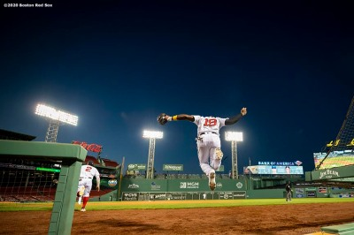 BOSTON, MA - SEPTEMBER 5: Jackie Bradley Jr. #19 of the Boston Red Sox leaps out of the dugout before a game against the Toronto Blue Jays on September 5, 2020 at Fenway Park in Boston, Massachusetts. The 2020 season had been postponed since March due to the COVID-19 pandemic. (Photo by Billie Weiss/Boston Red Sox/Getty Images) *** Local Caption *** Jackie Bradley Jr.