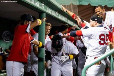 BOSTON, MA - SEPTEMBER 5: Jackie Bradley Jr. #19 of the Boston Red Sox celebrates with teammates after hitting a two run home run during the second inning of a game against the Toronto Blue Jays on September 5, 2020 at Fenway Park in Boston, Massachusetts. The 2020 season had been postponed since March due to the COVID-19 pandemic. (Photo by Billie Weiss/Boston Red Sox/Getty Images) *** Local Caption *** Jackie Bradley Jr.