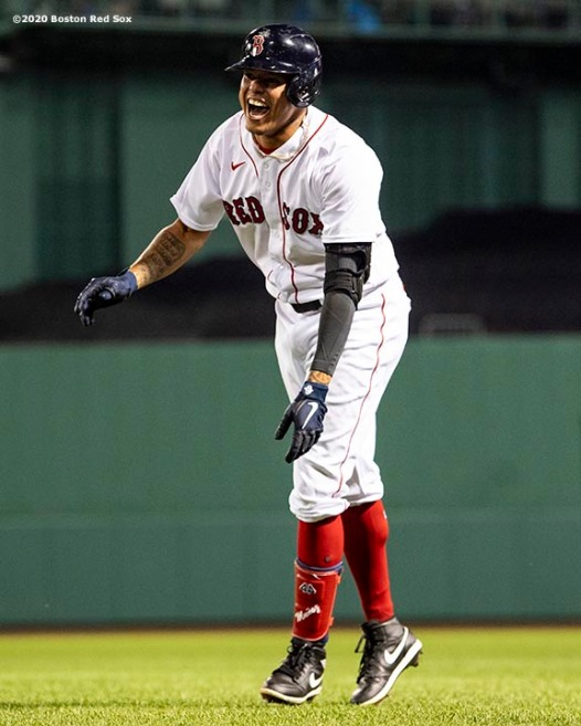 BOSTON, MA - SEPTEMBER 5: Yairo Munoz #60 of the Boston Red Sox reacts after hitting a game winning walk-off RBI single during the ninth inning of a game against the Toronto Blue Jays on September 5, 2020 at Fenway Park in Boston, Massachusetts. The 2020 season had been postponed since March due to the COVID-19 pandemic. (Photo by Billie Weiss/Boston Red Sox/Getty Images) *** Local Caption *** Yairo Munoz