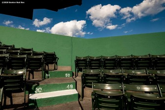 BOSTON, MA - SEPTEMBER 6: Empty seats are shown during a game between the Boston Red Sox and the Toronto Blue Jays on September 6, 2020 at Fenway Park in Boston, Massachusetts. The 2020 season had been postponed since March due to the COVID-19 pandemic. (Photo by Billie Weiss/Boston Red Sox/Getty Images) *** Local Caption ***