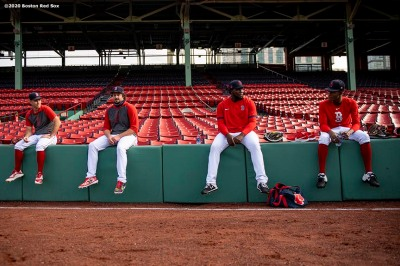 BOSTON, MA - SEPTEMBER 18: Ryan Weber #65, Josh Taylor #72, Domingo Tapia #66 and Phillips Valdez #77 of the Boston Red Sox look on before a game against the New York Yankees on September 18, 2020 at Fenway Park in Boston, Massachusetts. The 2020 season had been postponed since March due to the COVID-19 pandemic. (Photo by Billie Weiss/Boston Red Sox/Getty Images) *** Local Caption *** Ryan Weber; Josh Taylor; Domingo Tapia; Phillips Valdez