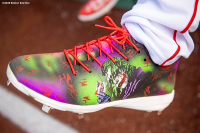 BOSTON, MA - SEPTEMBER 18: The cleats of Josh Taylor #72 of the Boston Red Sox are shown before a game against the New York Yankees on September 18, 2020 at Fenway Park in Boston, Massachusetts. The 2020 season had been postponed since March due to the COVID-19 pandemic. (Photo by Billie Weiss/Boston Red Sox/Getty Images) *** Local Caption *** Josh Taylor