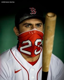 BOSTON, MA - SEPTEMBER 18: Michael Chavis #23 of the Boston Red Sox wears a mask as he looks at his bat before a game against the New York Yankees on September 18, 2020 at Fenway Park in Boston, Massachusetts. The 2020 season had been postponed since March due to the COVID-19 pandemic. (Photo by Billie Weiss/Boston Red Sox/Getty Images) *** Local Caption *** Michael Chavis