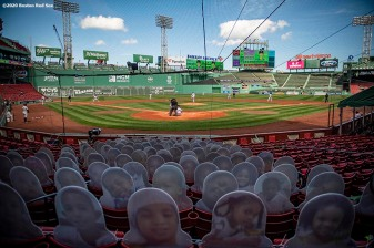 BOSTON, MA - SEPTEMBER 20: Cardboard cutout fans are displayed during a game between the Boston Red Sox and the New York Yankees on September 20, 2020 at Fenway Park in Boston, Massachusetts. The 2020 season had been postponed since March due to the COVID-19 pandemic. (Photo by Billie Weiss/Boston Red Sox/Getty Images) *** Local Caption ***