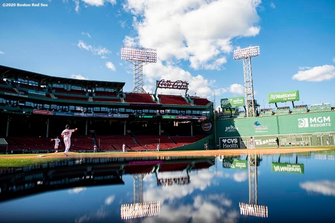 BOSTON, MA - SEPTEMBER 20: A reflection general view during a game between the Boston Red Sox and the New York Yankees on September 20, 2020 at Fenway Park in Boston, Massachusetts. The 2020 season had been postponed since March due to the COVID-19 pandemic. (Photo by Billie Weiss/Boston Red Sox/Getty Images) *** Local Caption ***