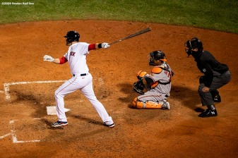 BOSTON, MA - SEPTEMBER 22: J.D. Martinez #28 of the Boston Red Sox hits an RBI single during the sixth inning of a game against the Baltimore Orioles on September 22, 2020 at Fenway Park in Boston, Massachusetts. The 2020 season had been postponed since March due to the COVID-19 pandemic. (Photo by Billie Weiss/Boston Red Sox/Getty Images) *** Local Caption *** J.D. Martinez