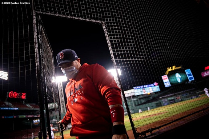 BOSTON, MA - SEPTEMBER 23: Christian Vazquez #7 of the Boston Red Sox wears a mask as he exits the field during the second inning of a game against the Baltimore Orioles on September 23, 2020 at Fenway Park in Boston, Massachusetts. The 2020 season had been postponed since March due to the COVID-19 pandemic. (Photo by Billie Weiss/Boston Red Sox/Getty Images) *** Local Caption *** Christian Vazquez