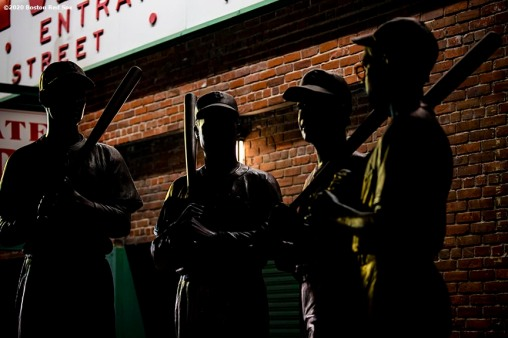 BOSTON, MA - SEPTEMBER 23: The Teammates statue is shown during a game between the Boston Red Sox and the Baltimore Orioles on September 23, 2020 at Fenway Park in Boston, Massachusetts. The 2020 season had been postponed since March due to the COVID-19 pandemic. (Photo by Billie Weiss/Boston Red Sox/Getty Images) *** Local Caption ***