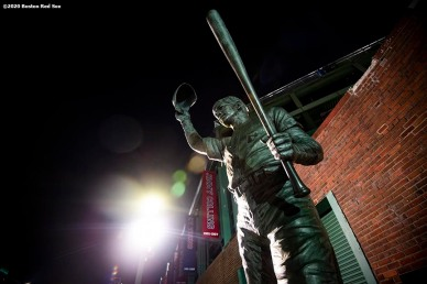 BOSTON, MA - SEPTEMBER 23: A statue of Carl Yastrzemski is shown during a game between the Boston Red Sox and the Baltimore Orioles on September 23, 2020 at Fenway Park in Boston, Massachusetts. The 2020 season had been postponed since March due to the COVID-19 pandemic. (Photo by Billie Weiss/Boston Red Sox/Getty Images) *** Local Caption ***