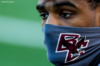 CHESTNUT HILL, MA - SEPTEMBER 26: Elijah Jones #20 of the Boston College Eagles wears a mask as he looks on before a game against the Texas State Bobcats at Alumni Stadium on September 26, 2020 in Chestnut Hill, Massachusetts. (Photo by Billie Weiss/Getty Images) *** Local Caption *** Elijah Jones