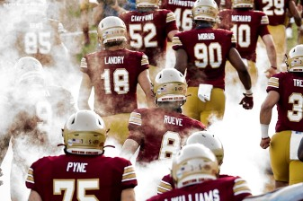 CHESTNUT HILL, MA - SEPTEMBER 26: Members of the Boston College Eagles exit the tunnel as they are introduced before a game against the Texas State Bobcats at Alumni Stadium on September 26, 2020 in Chestnut Hill, Massachusetts. (Photo by Billie Weiss/Getty Images) *** Local Caption ***