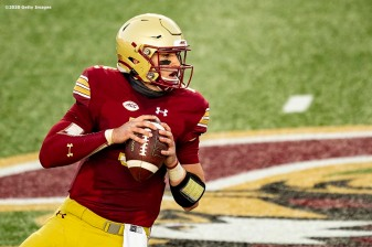 CHESTNUT HILL, MA - SEPTEMBER 26: Phil Jurkovec #5 of the Boston College Eagles looks to throw during the first half of a game against the Texas State Bobcats at Alumni Stadium on September 26, 2020 in Chestnut Hill, Massachusetts. (Photo by Billie Weiss/Getty Images) *** Local Caption *** Phil Jurkovec