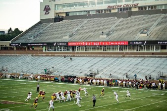 CHESTNUT HILL, MA - SEPTEMBER 26: A general view during a game between the Boston College Eagles and the Texas State Bobcats at Alumni Stadium on September 26, 2020 in Chestnut Hill, Massachusetts. (Photo by Billie Weiss/Getty Images) *** Local Caption ***