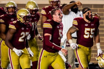 CHESTNUT HILL, MA - SEPTEMBER 26: Phil Jurkovec #5 of the Boston College Eagles runs onto the field as he celebrates a victory against the Texas State Bobcats at Alumni Stadium on September 26, 2020 in Chestnut Hill, Massachusetts. (Photo by Billie Weiss/Getty Images) *** Local Caption *** Phil Jurkovec