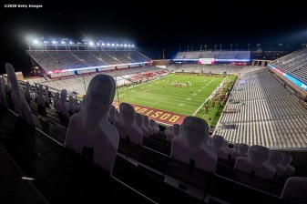 CHESTNUT HILL, MA - SEPTEMBER 26: Cardboard cutout fans are displayed during a game between the Boston College Eagles and the Texas State Bobcats at Alumni Stadium on September 26, 2020 in Chestnut Hill, Massachusetts. (Photo by Billie Weiss/Getty Images) *** Local Caption ***