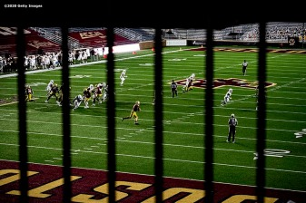 CHESTNUT HILL, MA - SEPTEMBER 26: Phil Jurkovec #5 of the Boston College Eagles throws during the second half of a game against the Texas State Bobcats at Alumni Stadium on September 26, 2020 in Chestnut Hill, Massachusetts. (Photo by Billie Weiss/Getty Images) *** Local Caption *** Phil Jurkovec